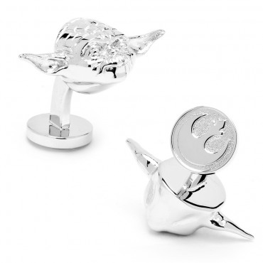 3D  Palladium Yoda Head Cufflinks