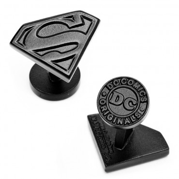 Satin Black Superman Shield Cufflinks