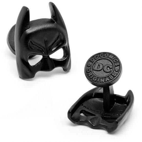 3-D Satin Black Classic Batman Mask Cufflinks