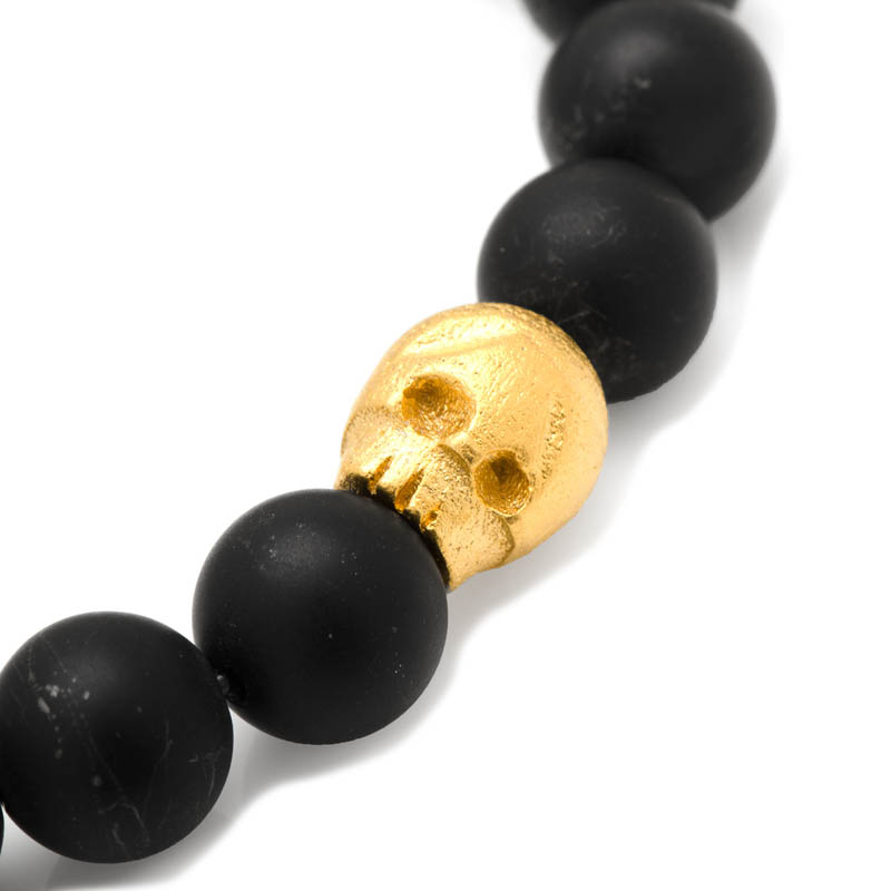 Thomas Onyx Stretch Bracelet in Gold