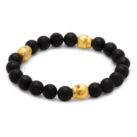 Thomas Onyx Stretch Bracelet in Gold
