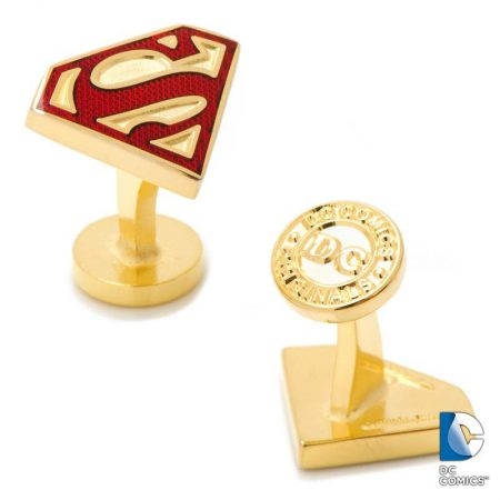 Gold Enamel Superman Shield Cufflinks