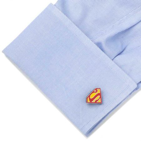 Stainless Steel Blue Superman Shield Cufflinks