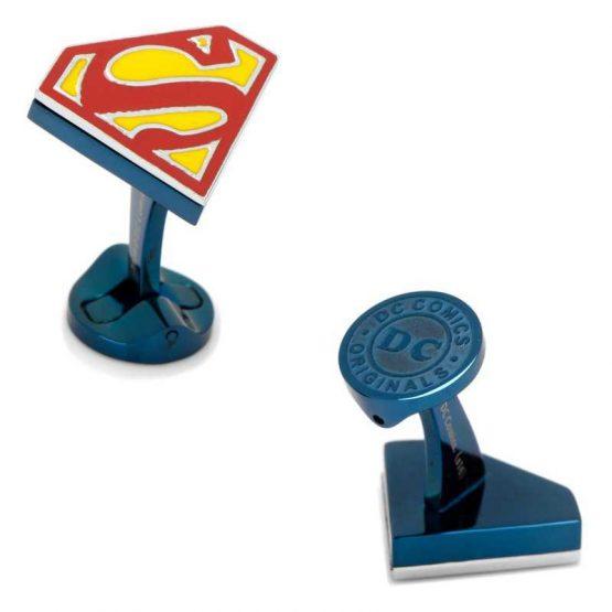 Stainless Steel Blue Superman Shield Cufflinks
