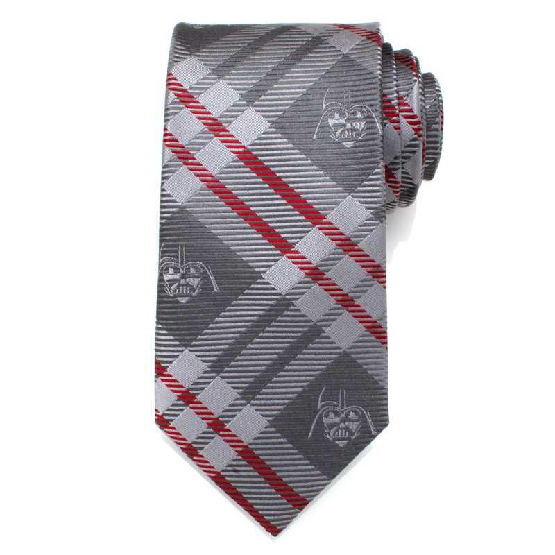 Darth Vader Grey and Red Plaid Men's Tie