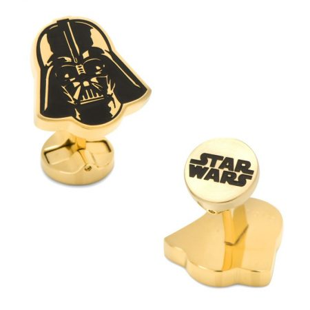 Darth Vader Stainless Steel Black and Gold Cufflinks