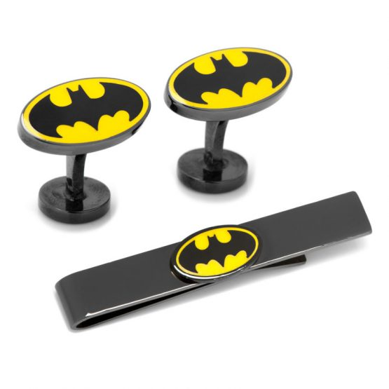 Batman Black Cufflinks and Tie Bar Gift Set