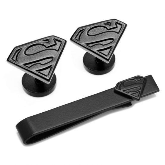Superman Satin Black Cufflinks and Tie Bar Gift Set